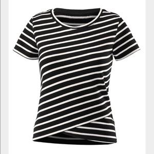 CAbi 5059 Gracie black white stripe Crop Top